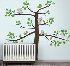 Kids wall decal koala tree baby room decor koalas large tree - Koala Tree Extra Large by LittleLion Studio