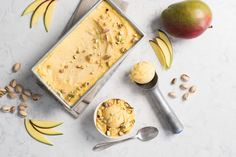 This dairy-free summer ice cream is so delicious that you will make it your go-to summer treat. Make it with fresh mango if available. Ripple Milk, Mango Sorbet, Summer Ice Cream, Dairy Free Diet, Vegan Ice Cream, Free Summer, Pistachios, Milk Recipes, Summer Treats