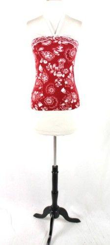 New ANN TAYLOR LOFT Red White PIMA COTTON Floral HALTER Top BLOUSE Shirt S | eBay