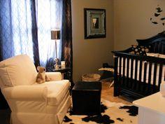 Gray, Black, White Boys Nursery, Exciting gray, white and black boys nursery decorated by Mom.  , Cow hide rug, black crib with gray skirt. ...