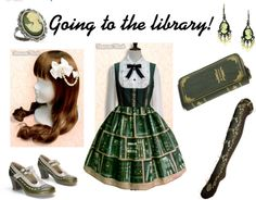 """""""Going to the library - lolita"""" by iz-chan ❤ liked on Polyvore  I love everything about this coord"""