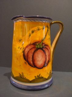 Decorative Italian Pottery Pitcher, Mustard color