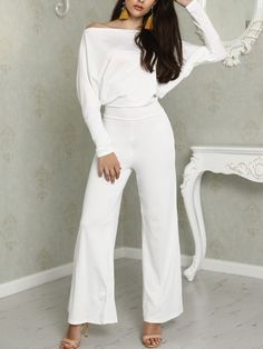 232e82f13719 Oversized Solid Skew Neck Wide Leg Jumpsuit Date Outfits