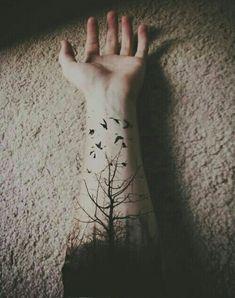 arm tattoo, birds, cute, forests, tattoos, tree