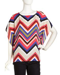 Flutter-Sleeve Chevron Print Top, Cherry Tomato by MICHAEL Michael Kors at Last Call by Neiman Marcus.