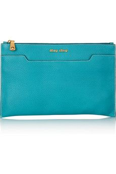 MIU MIU  Turquoise grained-leather (Calf)Front slit pocket, designer plaque, gold hardwareInternal zip-fastening and pouch pocketsFully linedZip fastening along top;