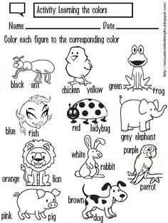 Learning the colors with the animals English Activities For Kids, First Day Activities, English Worksheets For Kids, Animal Activities, Vocabulary Activities, Kindergarten Activities, Preschool, The Animals, English Lessons