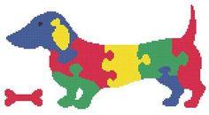 Puzzle Dog Cross Stitch Pattern Animal by FluffyFuzzypatterns, $3.50