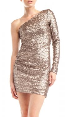 Allover Sequins Dress, Taupe