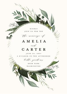"""Natures Greens"" wedding invitation by Minted artist Susan Moyal. Boho greenery design part of the new 2018 wedding invitation collection."