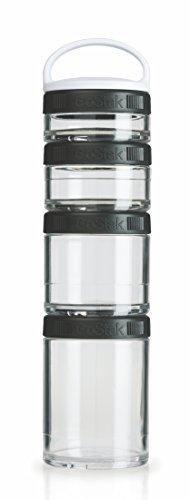 BlenderBottle GoStak Twist n' Lock Storage Jars 4-Piece Starter Pak Black