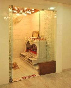 Get ideas on designs for pooja room in hall. Discover amazing Pooja Mandir for Home and use them to create a peaceful environment in your house. Indian Home Interior, Room Interior, Home Interior Design, Interior Ideas, Kitchen Interior, Temple Room, Home Temple, Door Design Images, Temple Design For Home