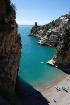 Marina di Praia - Praiano, Amalfi Coast, Campania, Italy I just want to swim in that and out to the houses.