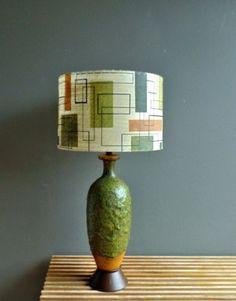Mid-Century-Modern-drip-lava-pottery-table-lamp-amp-fiberglass-shade