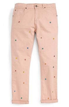 Free shipping and returns on Stella McCartney Kids 'Lohan' Jewel Embellished Jeans (Little Girls & Big Girls) at Nordstrom.com. Sparkling jewel embellishments adorn the front of straight-leg jeans in a pastel pink hue.