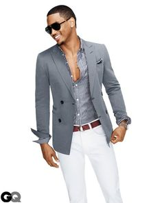 Trey Songz Interview GQ March 2012 Sports Jackets Casual/Chic Menswear --sports jacket, no tie, loose buttons on stripped shirt and summery white pants Fashion Moda, Look Fashion, Mens Fashion, Fashion News, Luxury Fashion, Trey Songz, Sharp Dressed Man, Well Dressed Men, Mode Masculine