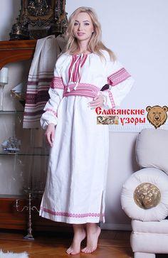 Славянская рубаха белая. Славянская традиционная женская рубаха из льна  - Можете приобрести с доставкой в магазине Эко Маркет