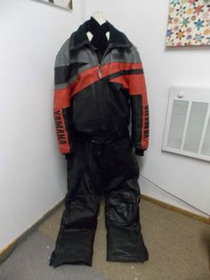 Vintage YAMAHA SNOWMOBILE Jacket & Leather Bib Pant Pants Set Mens Size XX 2X