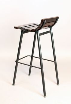 Custom Slat Bar Stools in Salvaged Rosewood by Thomas Hayes Studio at 1stdibs