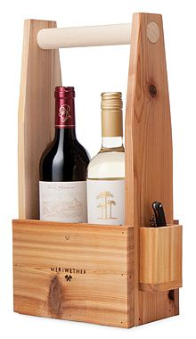 Mother's Day Wine Gifts for Her:   Wooden Wine Tote with Corkscrew @ Uncommon Good