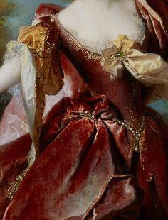 Portrait of the actress Marie-Anne de Chateauneuf, by Nicolas de Largillierre, 1712 (detail). - Portrait of the actress Marie-Anne de Chateauneuf, by Nicolas de Largillierre, Fashion History, Fashion Art, 18th Century Fashion, 17th Century, Classical Art, Detail Art, Renaissance Art, Renaissance Paintings, Renaissance Dresses