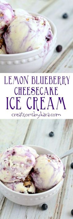 Recipe for homemade Lemon Blueberry Cheesecake Ice Cream - one of the best homemade ice cream recipes you will ever make!