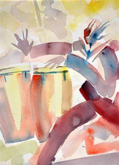 "George Evans, ""Conga Drummer,"" watercolor, 20"" x 14"""