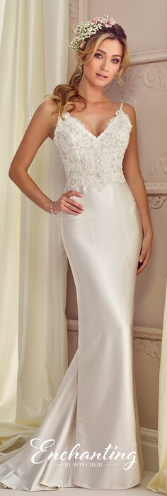 Vestido sirena, con encaje en blusa Enchanting by Mon Cheri Fall 2017 Collection - Style 217110 - sleeveless satin and lace sheath wedding dress with spaghetti straps and lace illusion dipped back Mon Cheri Wedding Dresses, Bridal Dresses, Wedding Gowns, Bridesmaid Dresses, Lace Wedding, 2017 Wedding, Prom Dresses, Enchanted Bridal, Casual Wedding