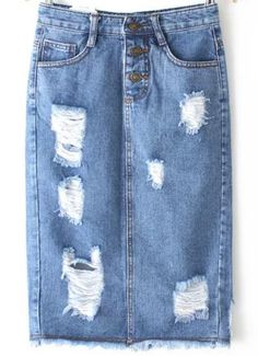 Shop Blue High Waist Ripped Denim Skirt online. SheIn offers Blue High Waist Ripped Denim Skirt & more to fit your fashionable needs.
