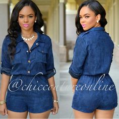 2017 Spring New Blue Casual Jumpsuit For Women One Piece Outfits Shorts Turn Down Collar Macacao Feminino Rompers Brand Fashion Casual Dresses, Casual Outfits, Cute Outfits, Fashion Outfits, Fashionable Outfits, Fashion Women, Chic Couture Online, Mode Jeans, African Fashion Dresses