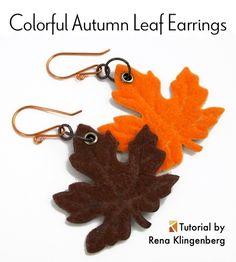 Colorful Autumn Leaf Earrings - tutorial by Rena Klingenberg