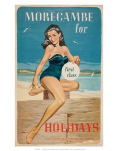 'Morecambe for First Class Holidays', BR poster, Poster advertising holidays to Morecambe, by British Railways, by Lance Cattermole. This travel poster shows a glamorous woman in a swimming costume holding a sign saying 'first class' Posters Uk, Train Posters, Retro Poster, Railway Posters, Vintage Travel Posters, Cool Posters, 1960s Advertising, Vintage Advertisements, Vintage Ads