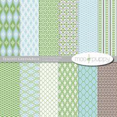 Tescott Green&Blue Digital Scrapbook Paper Pack by mooandpuppy  https://www.etsy.com/listing/77909709/tescott-greenblue-digital-scrapbook?ref=shop_home_active_1