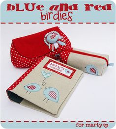 red and blue birdie set by countrykitty, via Flickr