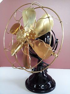 VINTAGE ART DECO GE KIDNEY 6 BRASS BLADE FAN