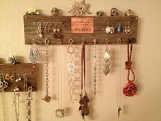 Barn wood jewelry holder.Rustic jewelry rack.Vintage jewelry holder.Copper and brass accents.Hand stamped copper.Necklaces.Jewelry on Etsy, $32.00