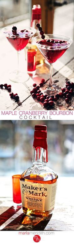 Maple Cranberry Bourbon Cocktail | MarlaMeridith.com