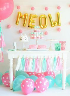 Pastel Colored Kitten Birthday Party Theme Decor - Children's Birthday Party Inspiration