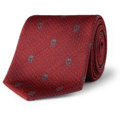 Alexander McQueenSkull-Embroidered Woven-Silk Tie