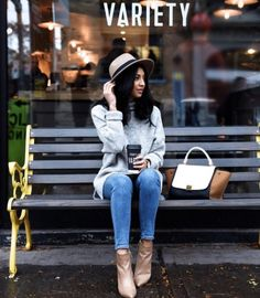 Wear this season's favorite hat with a neutral sweater, blue skinny jeans, and leather boots.
