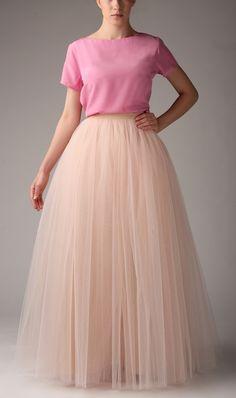 Petticoat & Unterrock - Tüllrock S031 MAXI. Champagner - ein Designerstück von Fanfaronada bei DaWanda