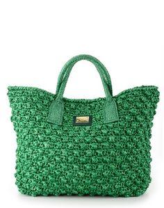 Green Raffia Shopper by Dolce & Gabbana