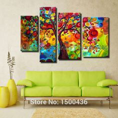 Hand Painted Colorful Abstract Oil Paintings Tree For Living Room Decoration 4 Piece Modern Wall Art Canvas Picture Sets(China (Mainland)) Colorful Abstract Art, Colorful Wall Art, Abstract Wall Art, Modern Wall Art, Oil Painting Trees, Oil Painting Abstract, Oil Paintings, Wall Art Pictures, Canvas Pictures