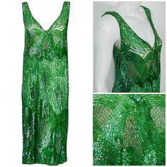 1920s emerald green dress