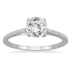 14k White Gold 1 1/6ct TDW White Diamond Cathedral Engagement Ring (I-J, I2-I3) - Overstock™ Shopping - Top Rated Engagement Rings