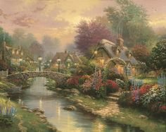 Thomas Kinkade Lamplight Bridge print for sale. Shop for Thomas Kinkade Lamplight Bridge painting and frame at discount price, ships in 24 hours. Thomas Kinkade Art, Kinkade Paintings, Thomas Kincaid, Bridge Painting, Art Thomas, Cross Stitch Landscape, Oil Painting Reproductions, Le Point, Oil Painting On Canvas