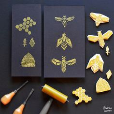 Block Printing Stamps by Andrea Lauren | Call A1 Bee Specialists in Bloomfield Hills, MI today at (248) 467-4849 to schedule an appointment if you've got a stinging insect problem around your house or place of business! You can also visit www.a1beespeciali...!