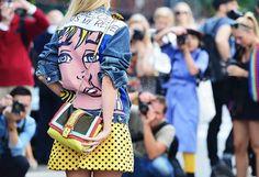 Roy Lichtenstein Denim Jacket/ Yellow Polka dot Skirt