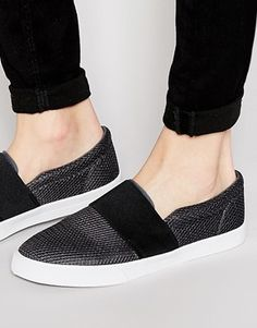ASOS Slip On Sneakers in Gray Mesh With Elastic Strap