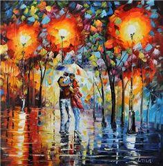 Schilderij Avondwandeling kleurrijk stel - Mensen schilderijen